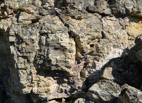 Photo 2012-164 : Karstic features below the Proterozoic Cambrian unconformity. A.Vertical cross-section of a gryke that branches into vertical and horizontal  ...