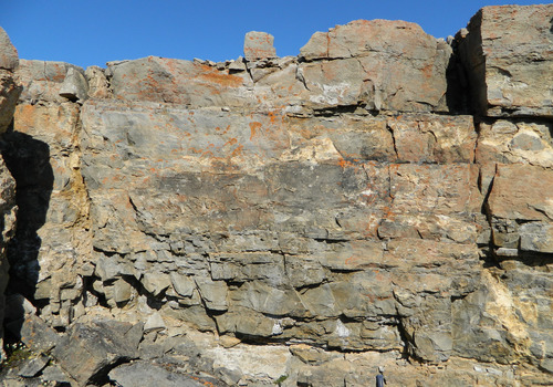Photo 2012-168 : Cambrian, lower clastic member. B. Conglomerate bed at the base of the cross-bedded quartz arenite