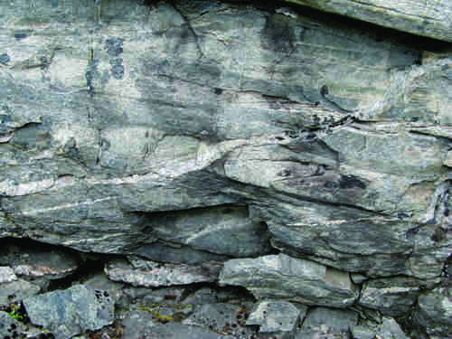 Photo 2013-269 : ductilely deformed quartz vein in shallow-dipping Paleoproterozoic age Folster Lake Group, showing local top-to-the-SW shear (view looking SE on  ...
