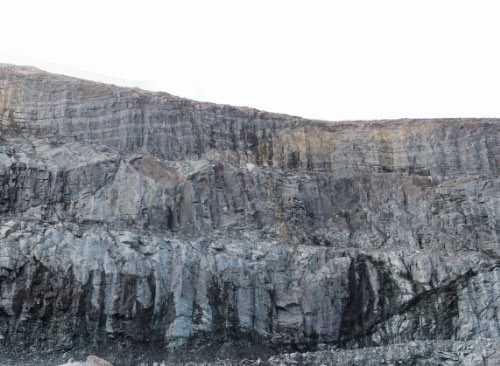 Photo 2014-197: DP1 fault zone subconcordant to the mine sequence and intermediate dyke cutting BIF (West wall, Pit E)