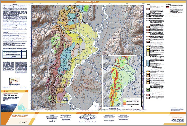 Surficial geology, lower Kitimat River valley-Wedeene River, Kitimat-Morice