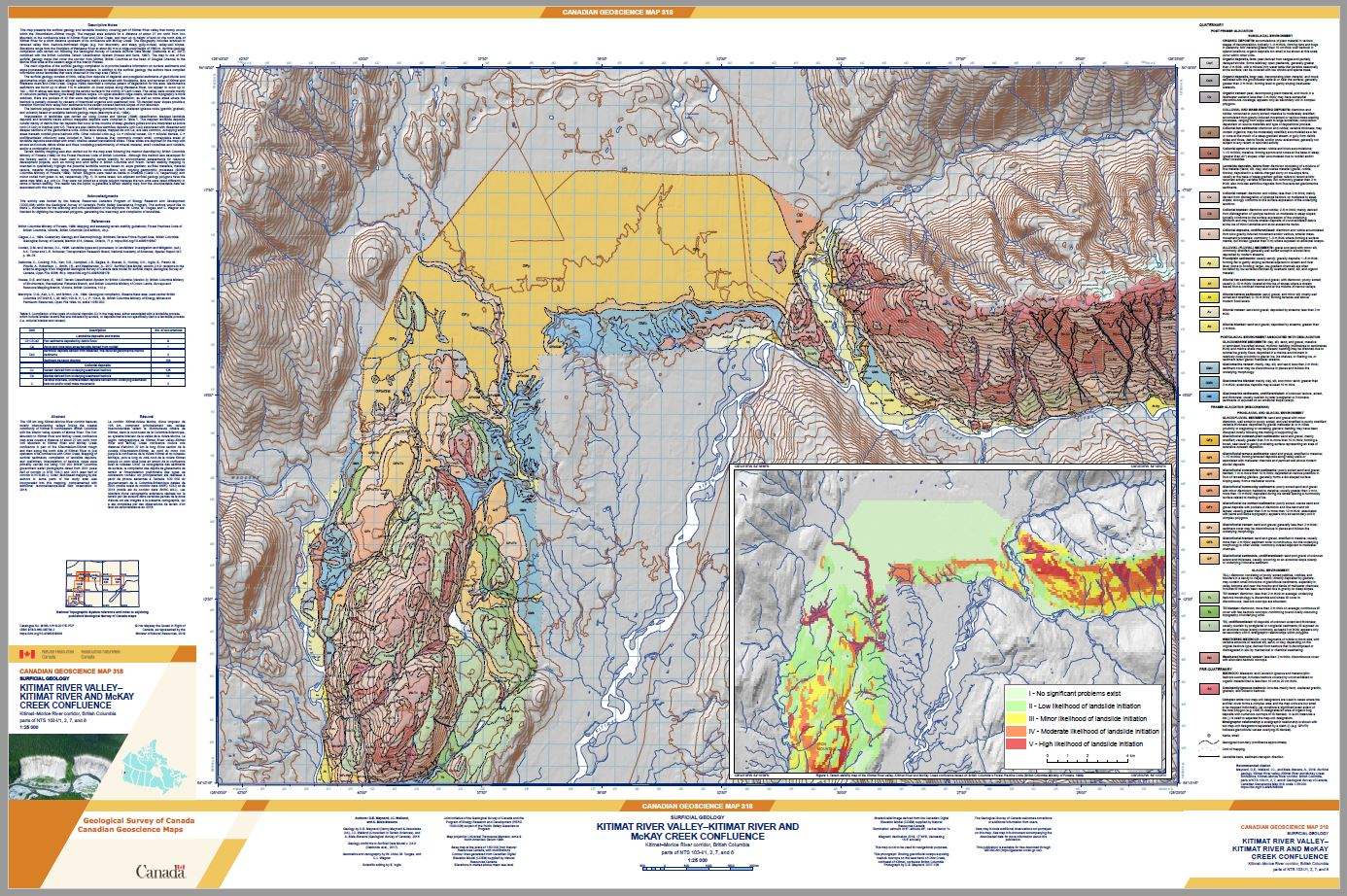 Surficial geology, Kitimat River valley-Kitimat River and McKay Creek
