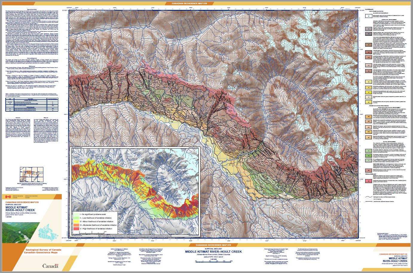 Surficial geology, middle Kitimat River-Hoult Creek, Kitimat-Morice River