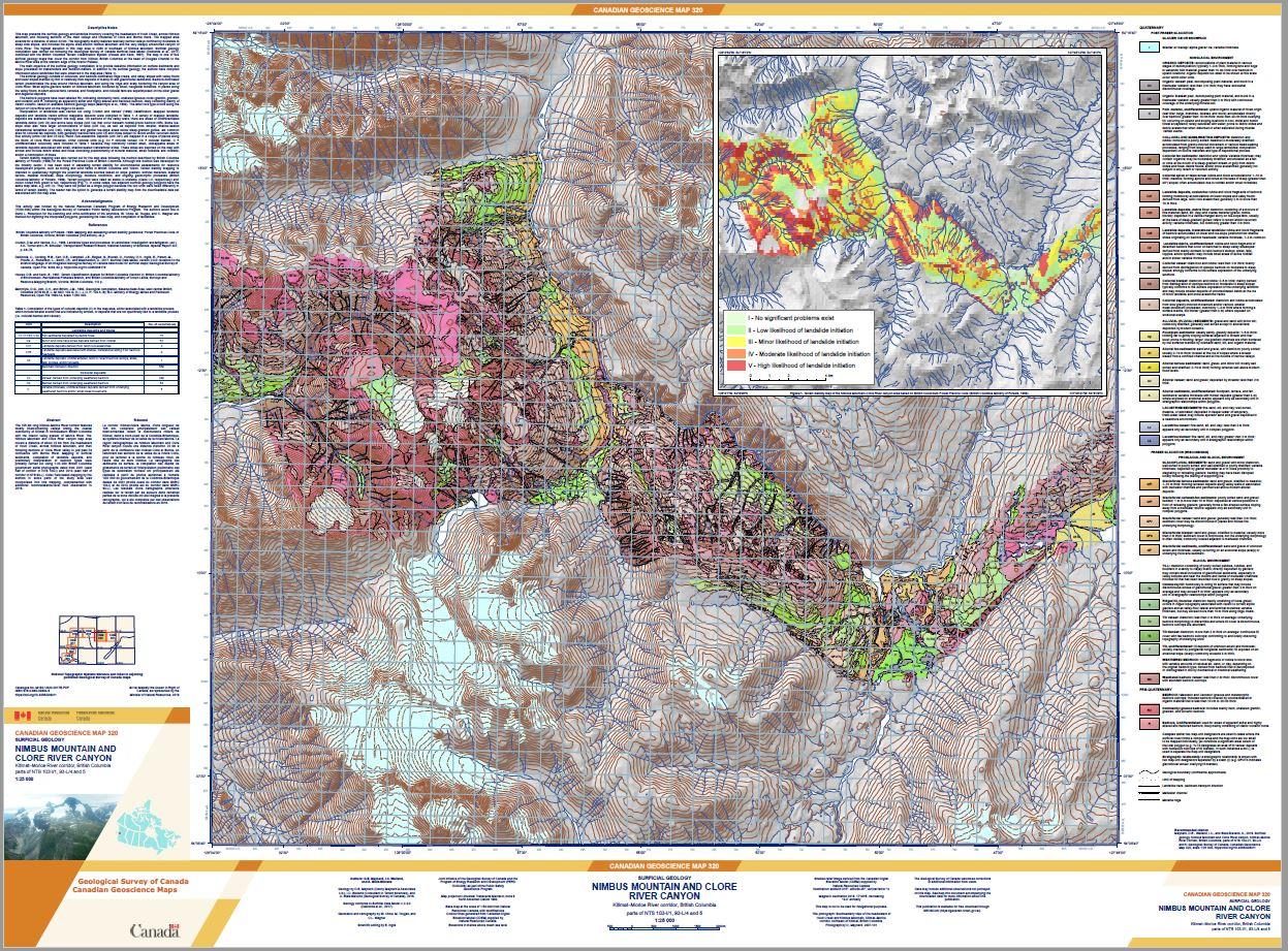 Surficial geology, Nimbus Mountain and Clore River canyon, Kitimat-Morice
