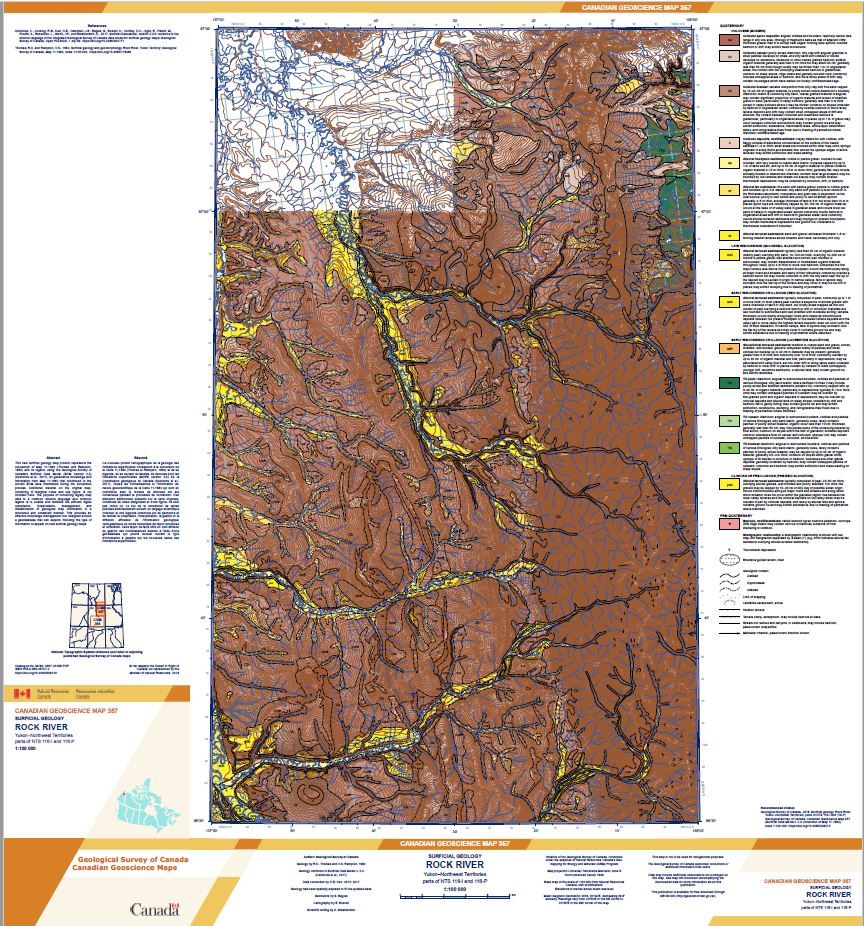 Surficial geology, Rock River, Yukon-Northwest Territories, parts of NTS 116-I and 116-P