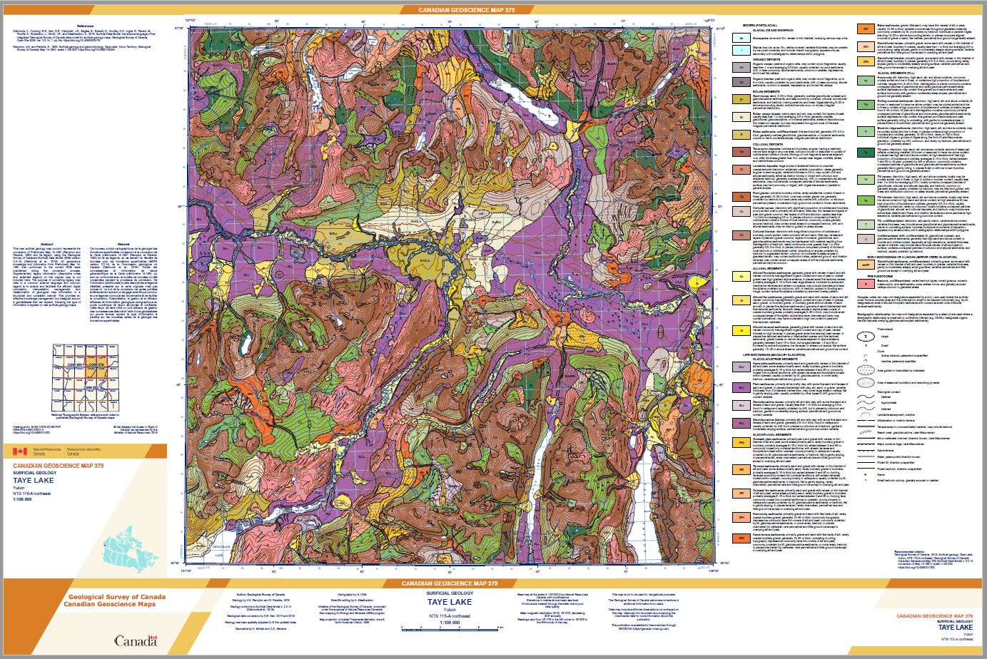 Surficial geology Taye Lake Yukon NTS 115-A northeast