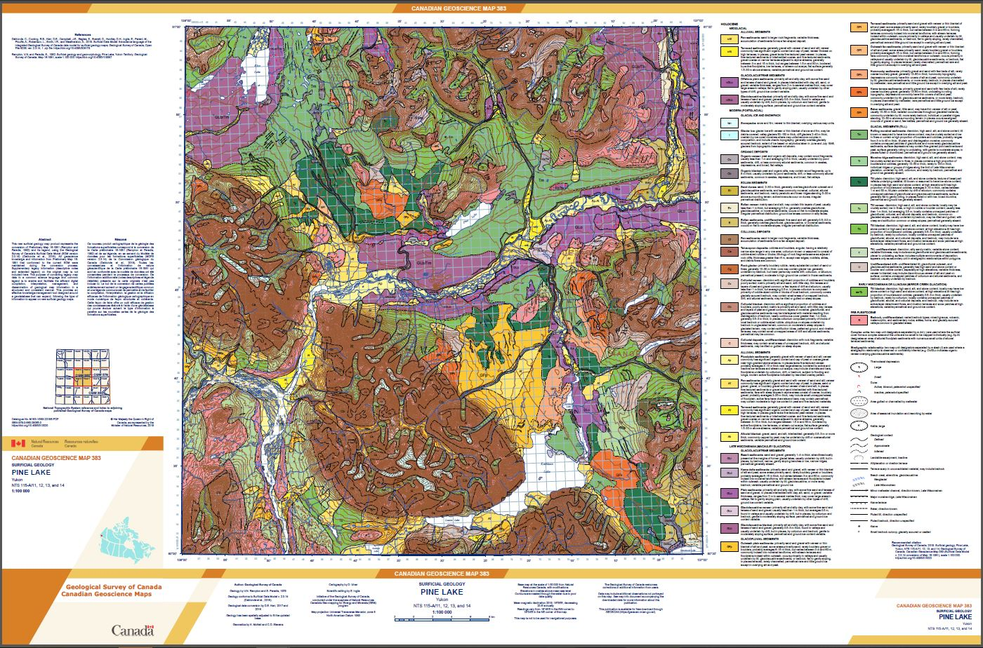 Surficial geology Pine Lake Yukon NTS 115-A/11 12 13 and 14