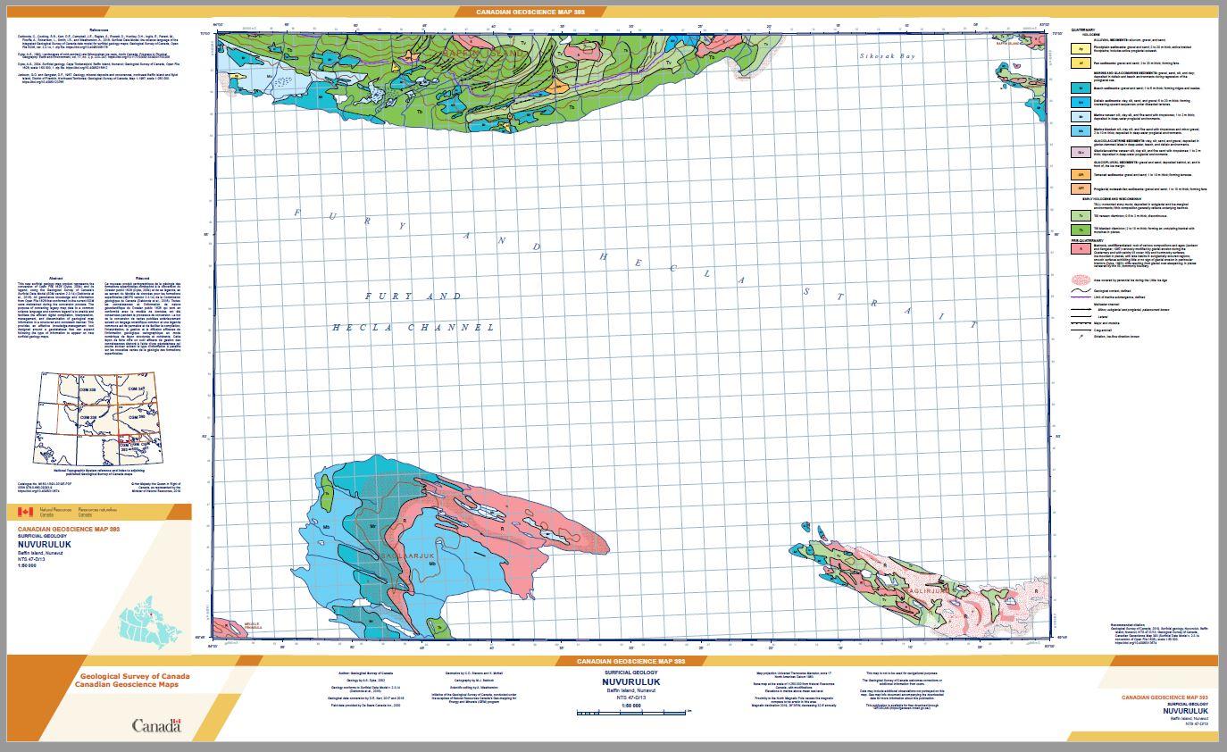 Surficial geology Nuvuruluk Baffin Island Nunavut NTS 47-D/13