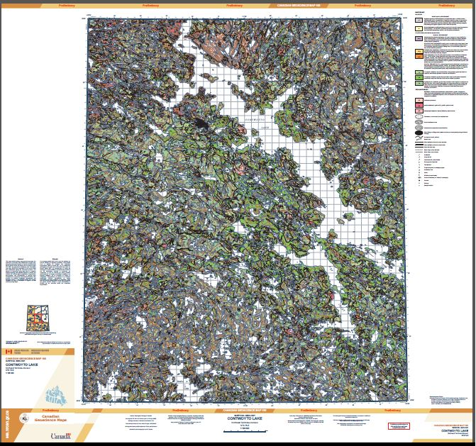 Thumbnail image of product. Surficial geology, Contwoyto Lake, Northwest Territories - Nunavut, NTS 76-E