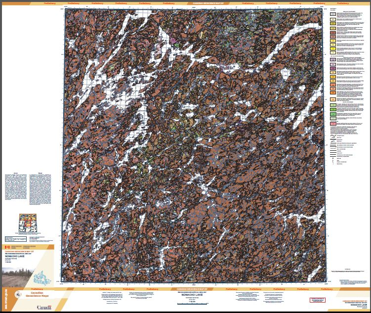 Thumbnail image of product. Reconnaissance surficial geology, Nonacho Lake, Northwest Territories, NTS 75-F
