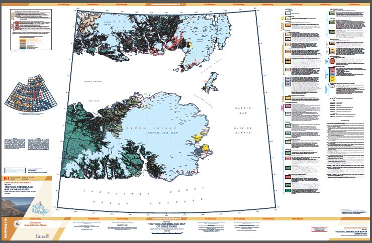Geology, tectonic assemblage map of Grise Fiord, eastern Devon and southern Ellesmere islands, Nunavut