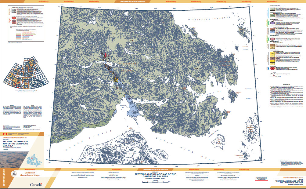 Geology, tectonic assemblage map of the Cambridge Bay area, southeastern Victoria Island, Nunavut