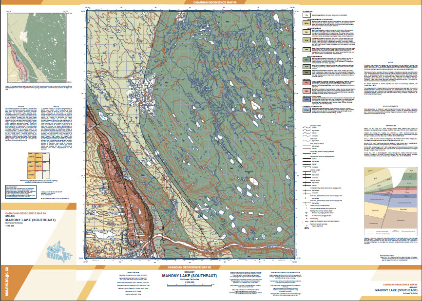Geology, Mahony Lake (southeast), Northwest Territories