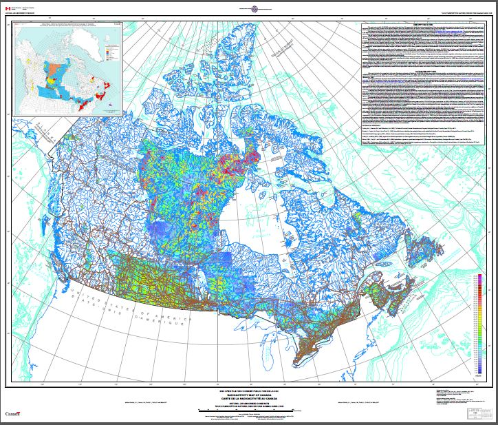 Radioactivity map of Canada, natural air absorbed dose rate / Carte de la radioactivité au Canada, taux dabsorption naturel des rayons gamma dans lair