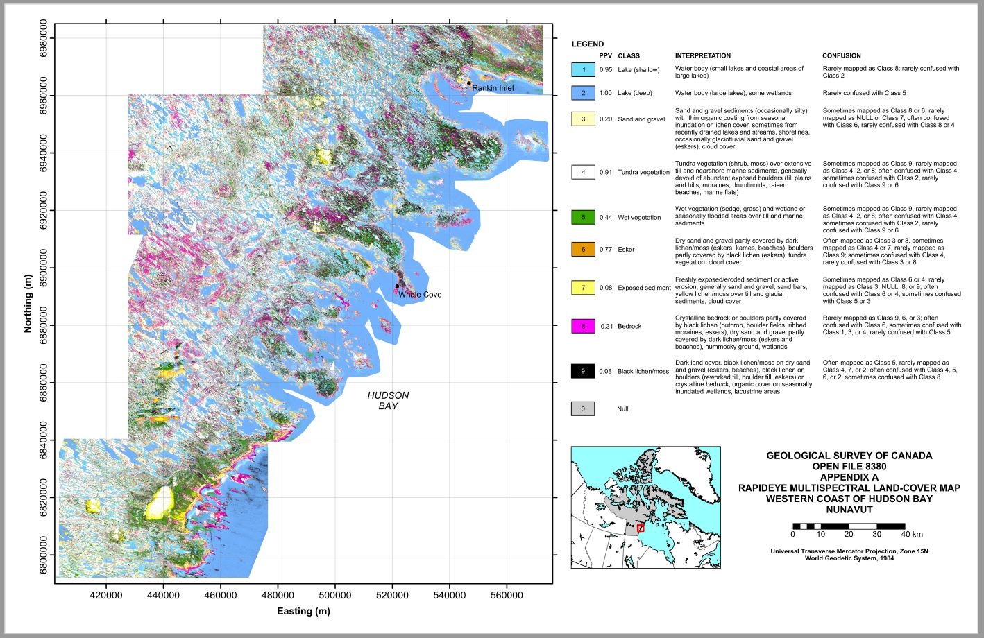 Performance analysis of RapidEye multispectral land-cover mapping for the western coast of Hudson Bay, Nunavut