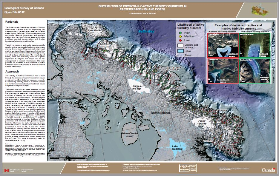 Distribution of potentially active turbidity currents in eastern Baffin