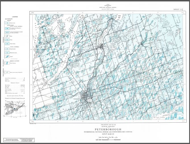 Thumbnail image of product. Glacial geology of Peterborough map-area, Ontario