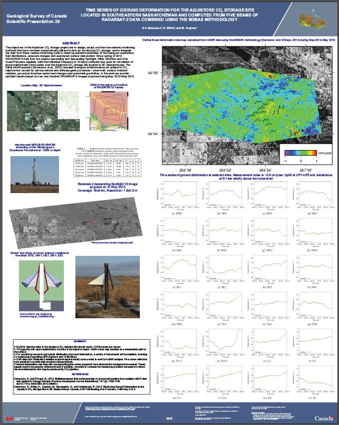 Thumbnail image of product. Time series of ground deformation for the Aquistore CO2 storage site located in southeastern Saskatchewan and computed from five beams of Radarsat-2 data combined using the MSBAS methodology