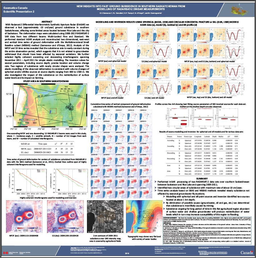 Thumbnail image of product. New insights into fast ground subsidence in southern Saskatchewan from modeling of RADARSAT-2 DInSAR measurements